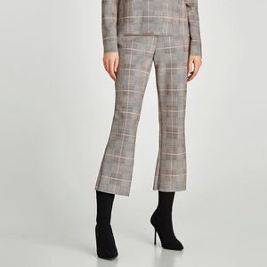 Checked faux suede trousers